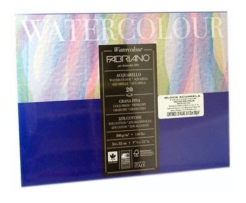 block watercolour fabriano 300gm 26x36cm con 12 hojas