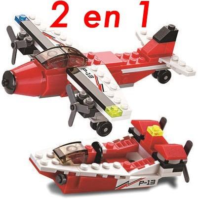blocks construcción avión bimotor 2 modelos en 1 | 81 piezas