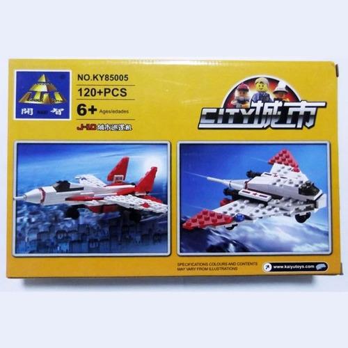 blocks construcción avión caza 2 modelos en 1   120 piezas
