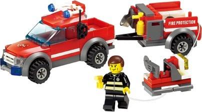 blocks construcción camioneta rescate bomberos c/ accesorios
