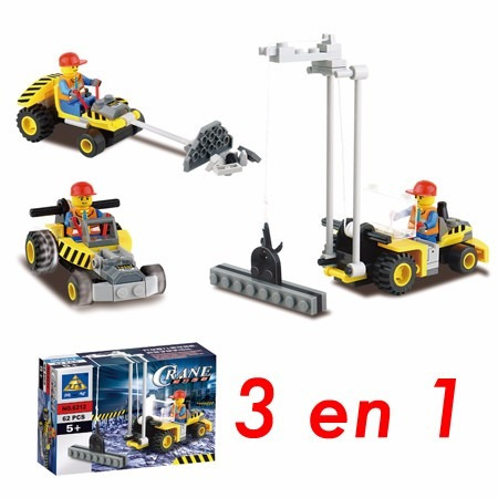 blocks construcción grúa elevador  3 modelos en 1