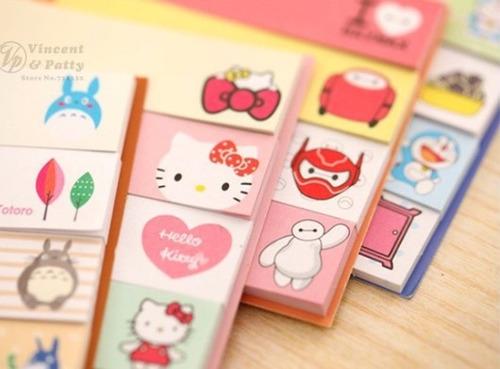 bloco adesivo colorido hello kitty personagens totor post