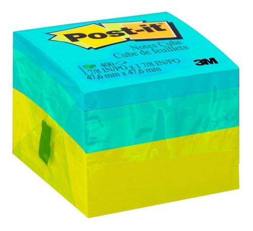 bloco adesivo post-it® cubo verde - 47,6 mm x 47,6 mm - 400