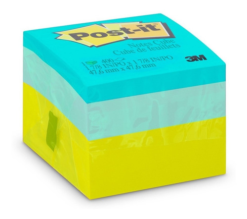 bloco adesivo post-it cubo verde 47,6mm x 47,6mm 400fls 3m