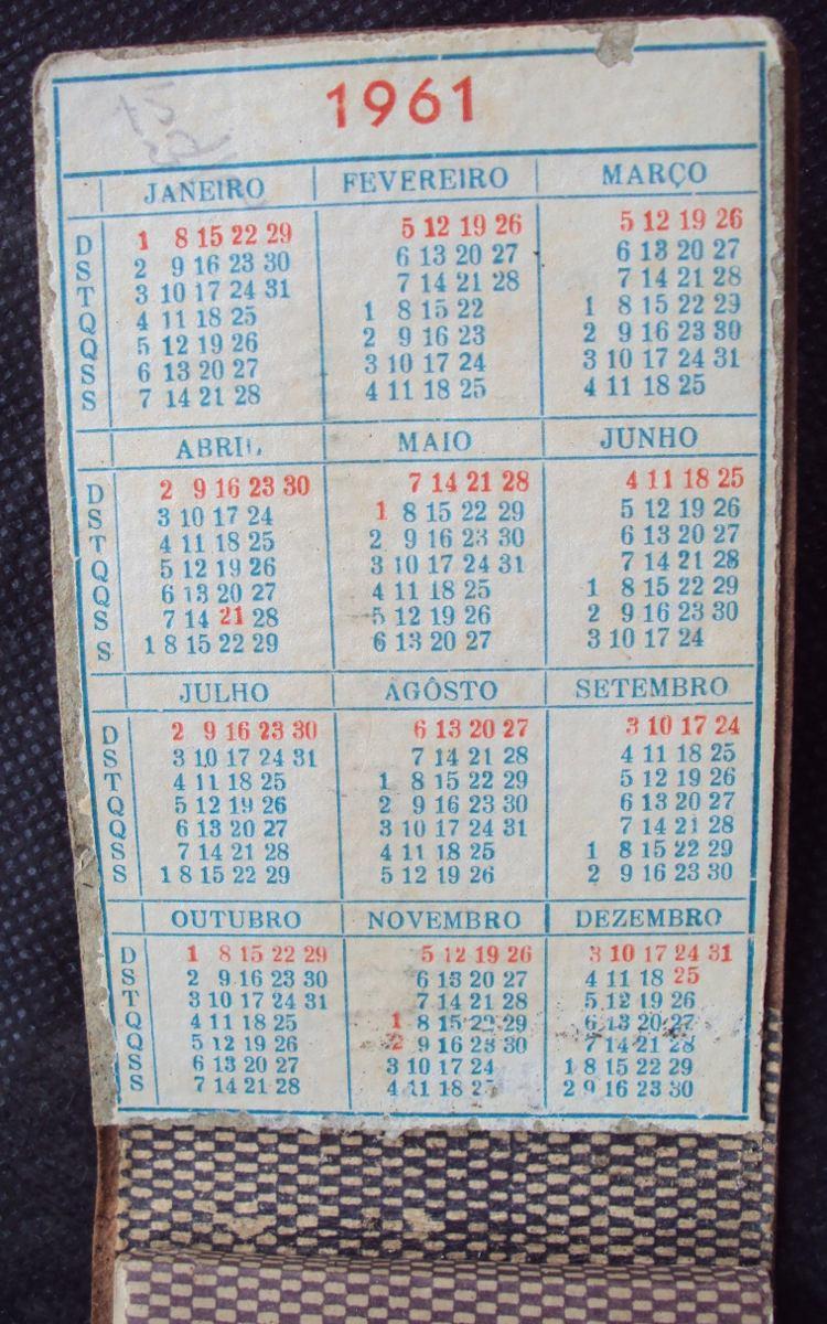 Calendario Del 1961.Bloco Anotacoes Com Calendario 1961 Capa Couro Ab