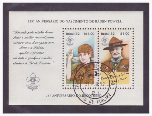 bloco b-53 carimbo 1ºdia 1982 75º aniversário do escotismo
