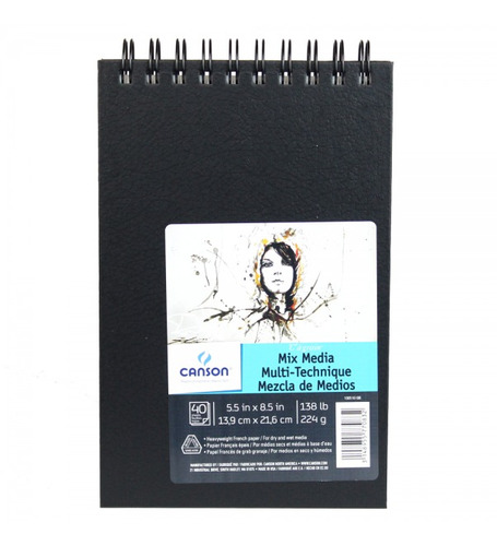 bloco canson sketch book mix media 13x21 40fls 224grs