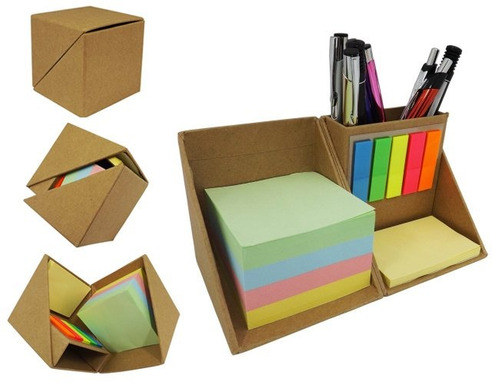 bloco cubo ecológico com post-it e porta caneta 025