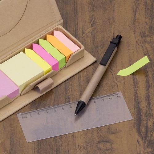 bloco de anotação com post-it e caneta