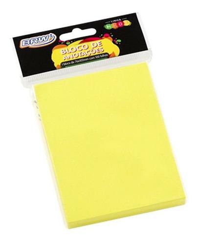 bloco de anotações 76x102mm amarelo neon brw 01un com 100fls