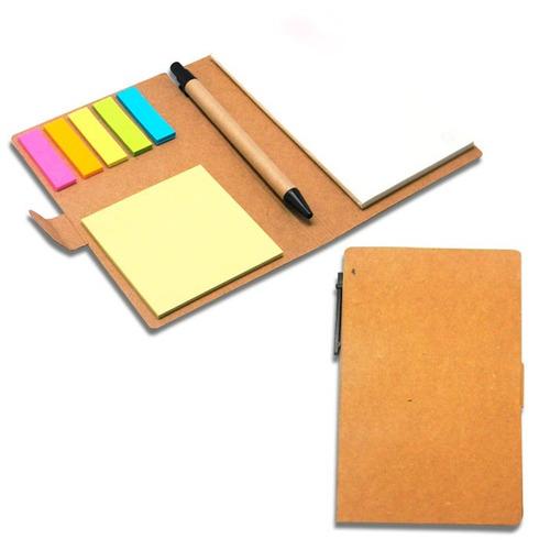 bloco de anotações ecológico caneta e post-it