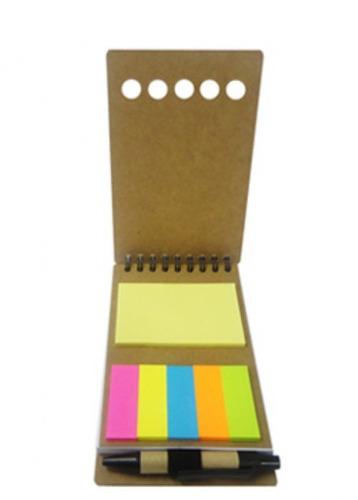 bloco de anotações ecológico, c/post-it + caneta