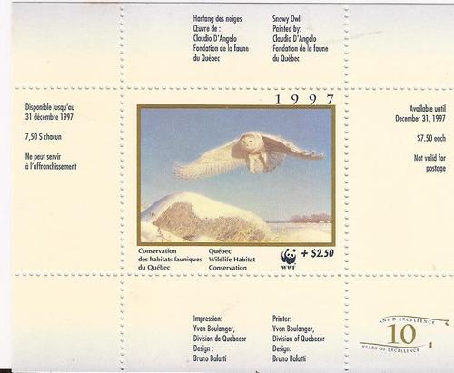 bloco especial capa c/ textos canadá vôo da coruja 1997 mint