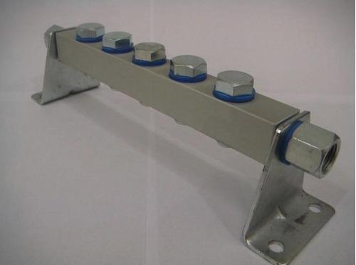 bloco manifold 1/4 p/ 05 válvulas - romak