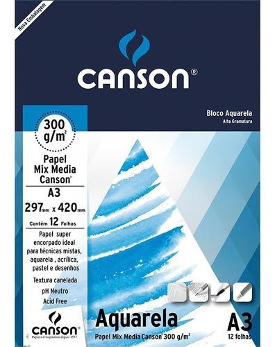 bloco papel aquarela a3 300g canson 12 folhas