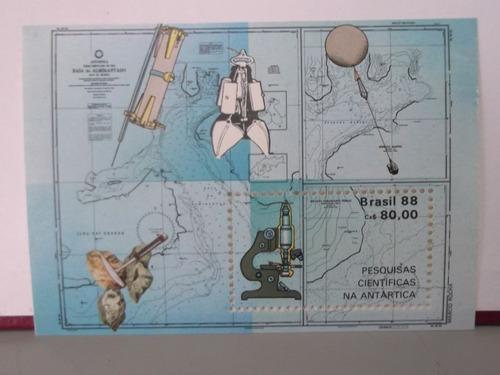 bloco - selo -  pesquisas científicas na antártica - 1988