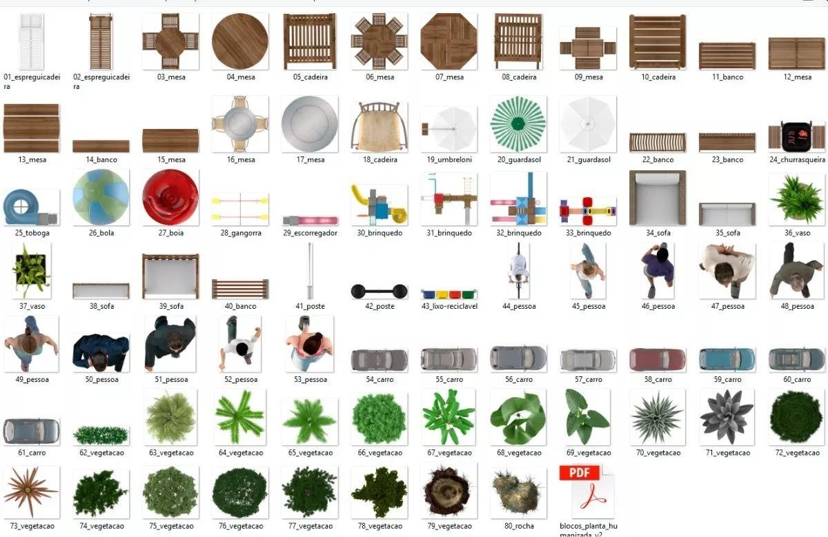 Blocos Corel Draw Planta Baixa Humanizada Texturas R