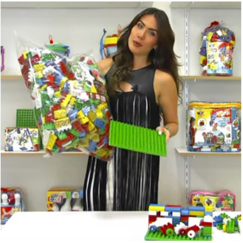 blocos de montar duplo 1000 peças coloridas - com +02 bases