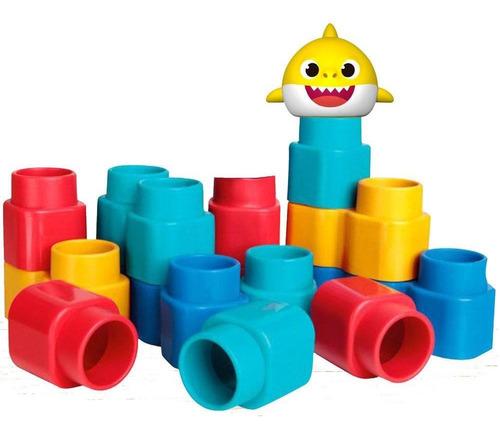 blocos de montar e figura - fofo blocos - baby shark - elka
