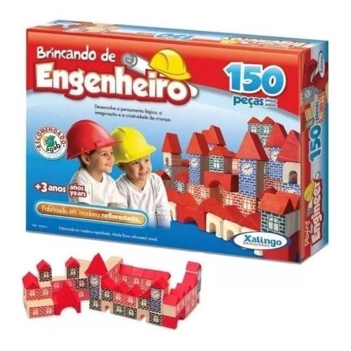 blocos de montar madeira castelinho 150 peças
