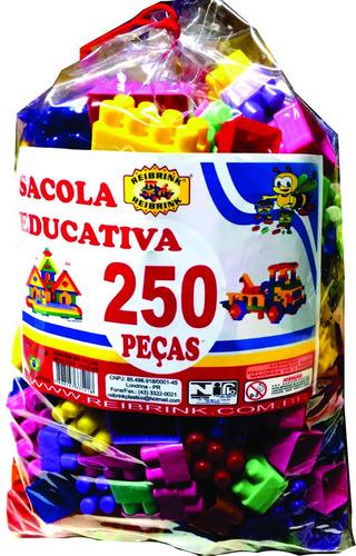 blocos educativos 250 peças blocos de montar