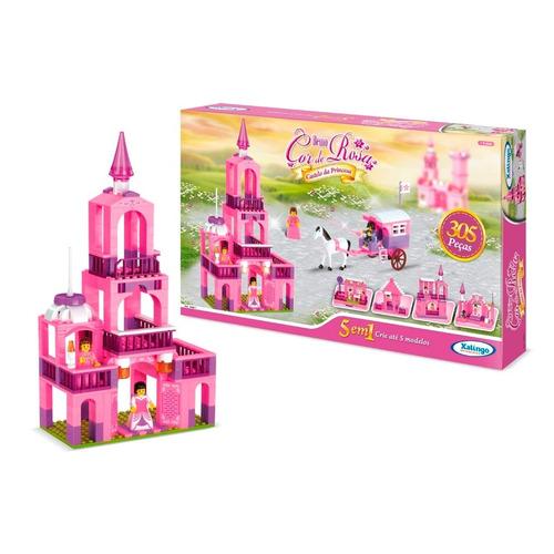 blocos encaixe castelo da princesa 305pçs xalingo