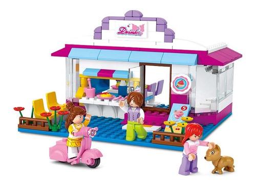 blocos para montar new girls dream café com 226 peças