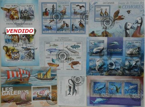 blocos temáticos- fauna, carros, navios, aviação, etc-usados
