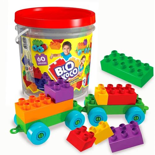 blokoco balde de 60 piezas bloques ruedas original rasti