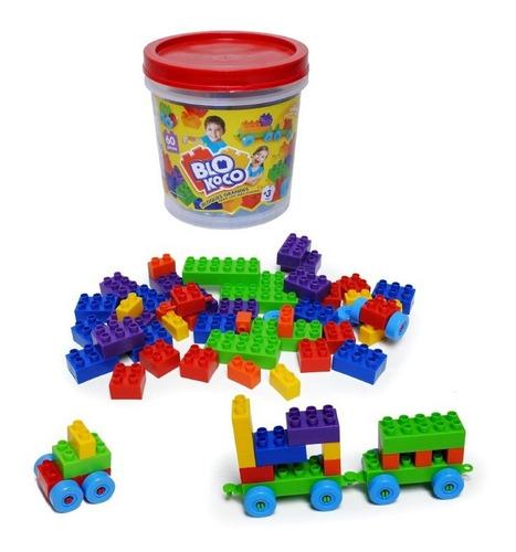 blokoco balde de bloques grandes 60 piezas tipo rasti full