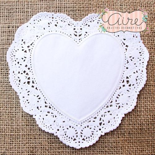 blondas corazon blancas 16 cm x 100 u papel caladas