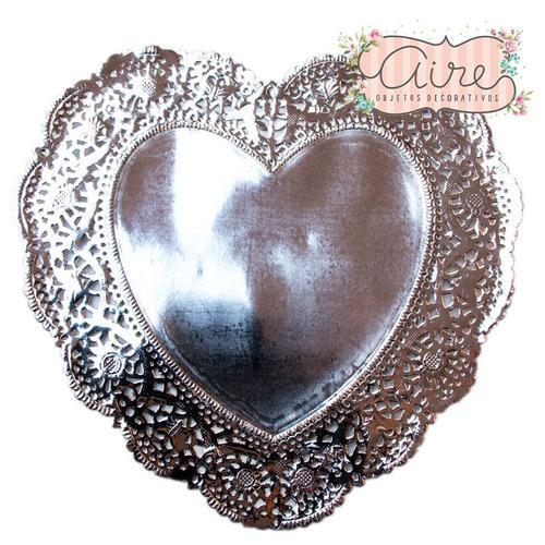 blondas  papel caladas corazon plateadas 16 cm x 100 u