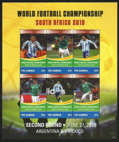 bloque estampillas sudafrica 2010 futbol messi heinze tevez