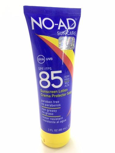 bloqueador solar antisolar facial no-ad 85 x 89ml