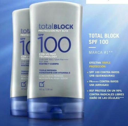 bloqueadores total block spf 100 de  yanbal ...2 unidades