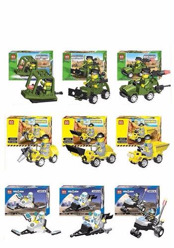 bloques amables - 10 modelos diferentes personaje + vehículo