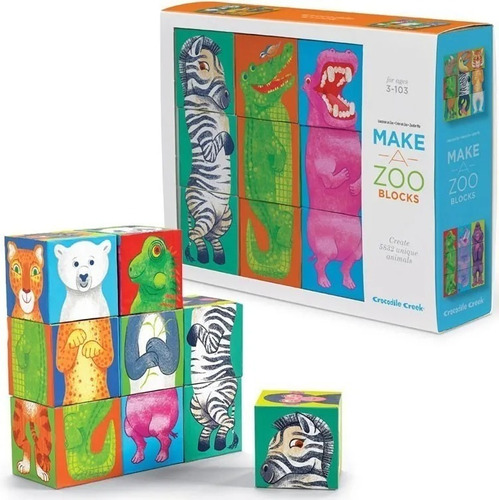 bloques animales zoo 29073 9 piezas crocodile creek educando