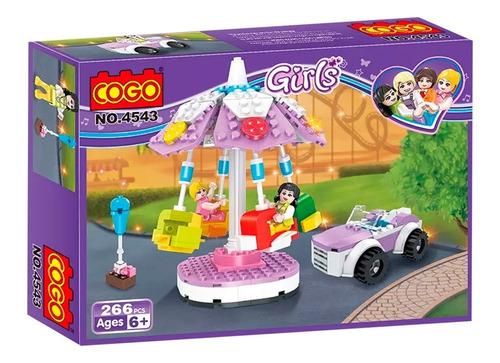 bloques cogo girls calesita en parque de diversiones juego