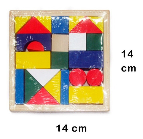 bloques de madera cajón didáctico 24 piezas medianas formas