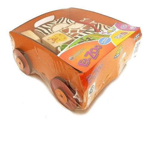 bloques de madera juego didactico animales salvajes+ carrito