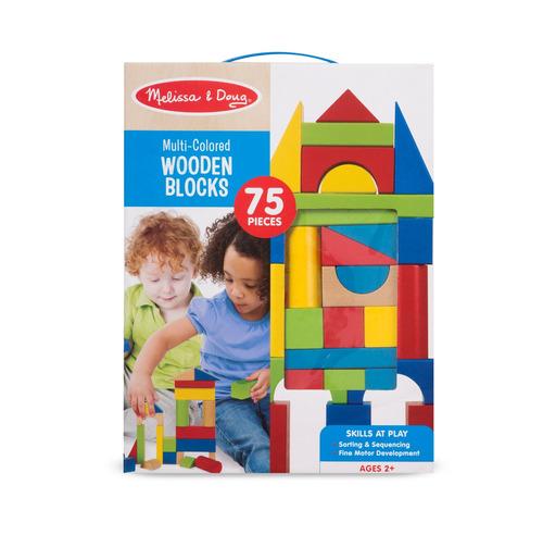 bloques de madera melissa & doug 75 piezas multi-coloridos