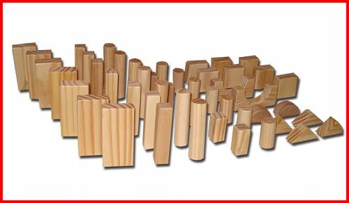 bloques de madera natural didácticos (50 piezas) o f e r t a