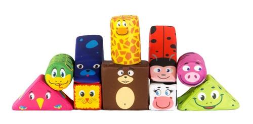 bloques de tela cubos animales bebe 10 piezas