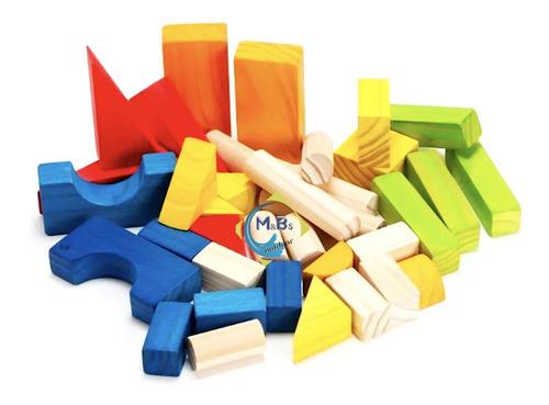 bloques didacticos de madera 36 piezas + bolsa marinera niño