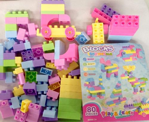 bloques encajables y didácticos goldkids paquete de 80 pcs