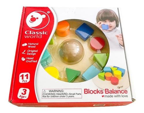 bloques equilibrio 11 piezas madera classic world educando