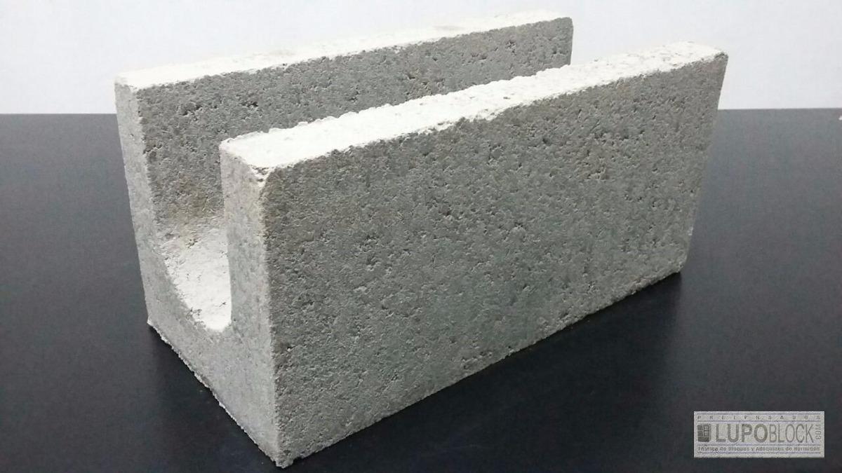 Bloques Ladrillo De Hormigon Cemento U 19x19x39 Pencadenado 29 - Ladrillo-de-hormigon