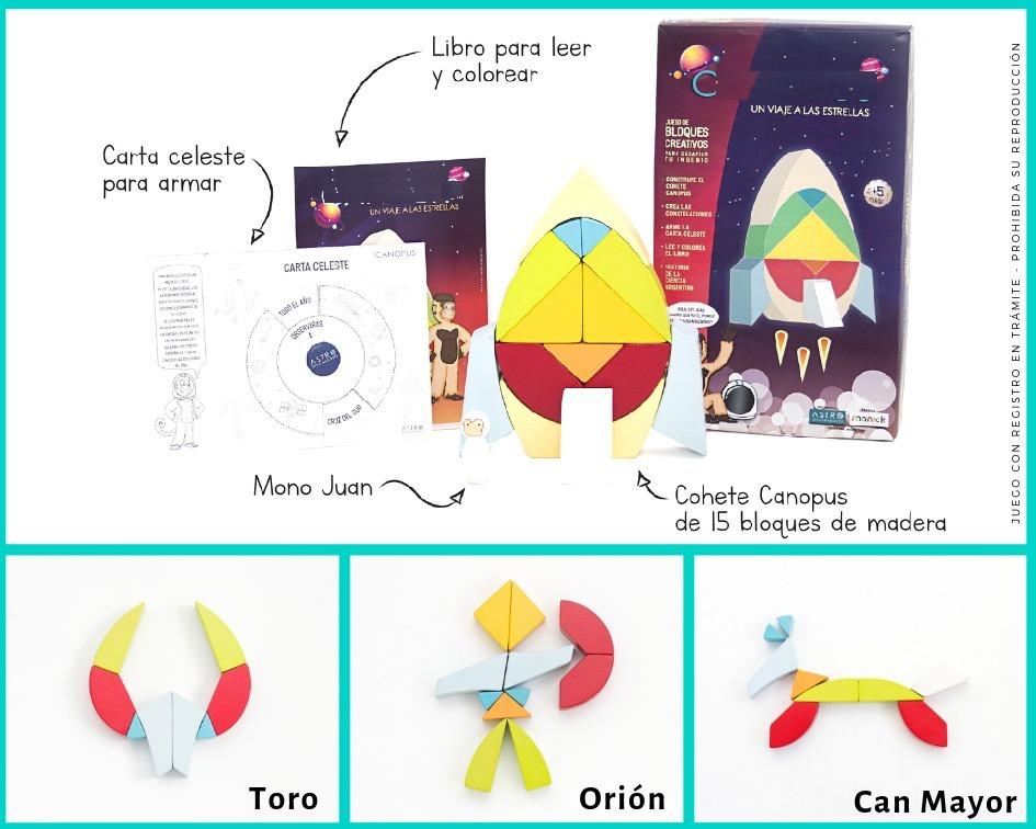 Bloques Madera Pintados Cohete Espacio Astronauta Luna Libro ...