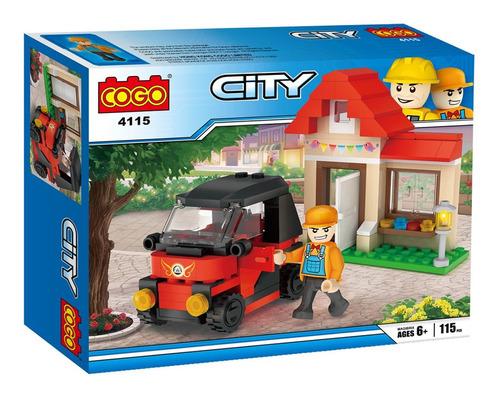 bloques para armar auto con casa didactico cogo city