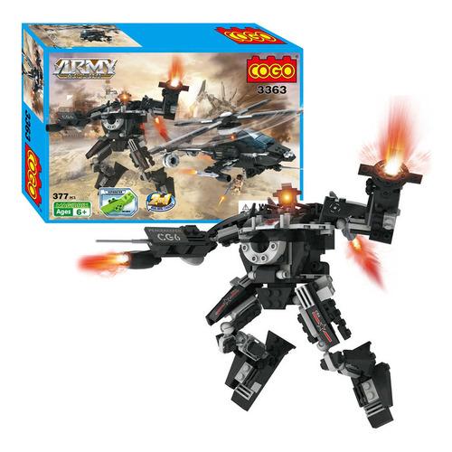 bloques para armar helicoptero army action transformer cogo